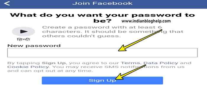 Facebook Account kaise banay 7 step.set password